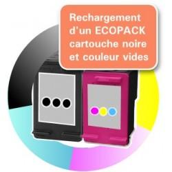 RECHARGEMENT d'un ECOPACK 2 CARTOUCHES D'ENCRE Type HP 62xl noire et couleurs