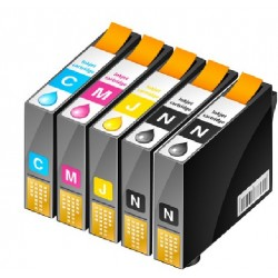 ECOPACK 5 CARTOUCHES D'ENCRE 2xNOIRE + CYAN/JAUNE/MAGENTA Type EPSON T1631/31/32/33/34