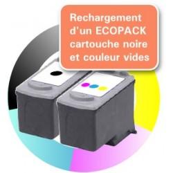 RECHARGEMENT d'un ECOPACK 2 CARTOUCHES D'ENCRE Type CANON 40/41
