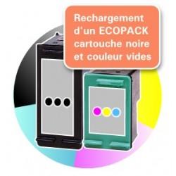 RECHARGEMENT d'un ECOPACK 2 CARTOUCHES D'ENCRE Type HP 350xl et HP 351xl