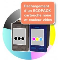 RECHARGEMENT d'un ECOPACK 2 CARTOUCHES D'ENCRE Type HP 21xl et HP 22xl