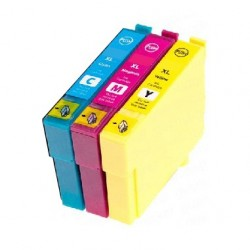 PACK 3 CARTOUCHES D'ENCRE CYAN/JAUNE/MAGENTA Type EPSON T2712/13/14