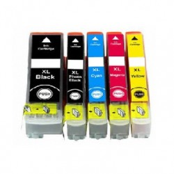 ECOPACK 5 CARTOUCHES D'ENCRE 2xNOIRE + CYAN/JAUNE/MAGENTA Type EPSON T3351/61/62/63/64