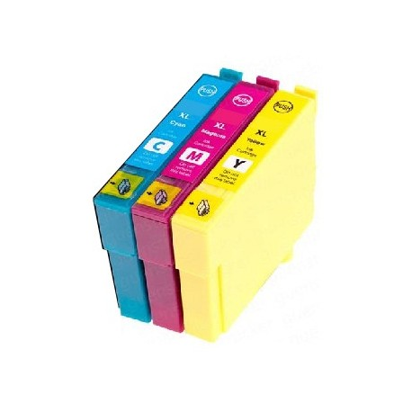 PACK 3 CARTOUCHES D'ENCRE CYAN/JAUNE/MAGENTA Type EPSON T3472/73/74