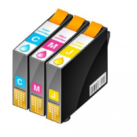 PACK 3 CARTOUCHES D'ENCRE CYAN/JAUNE/MAGENTA Type EPSON T0612/13/14
