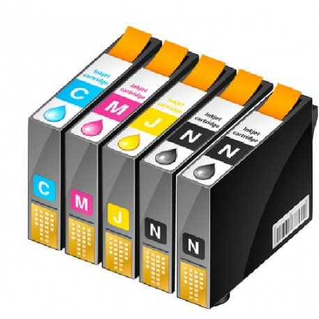 ECOPACK 5 CARTOUCHES D'ENCRE 2xNOIRE + CYAN/JAUNE/MAGENTA Type EPSON T0615/T061540