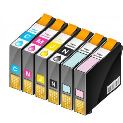 ECOPACK 6 CARTOUCHES D'ENCRE NOIRE/CYAN/JAUNE/MAGENTA+Photo CYAN/MAGENTA Type EPSON T0791/792/793/794/795/796